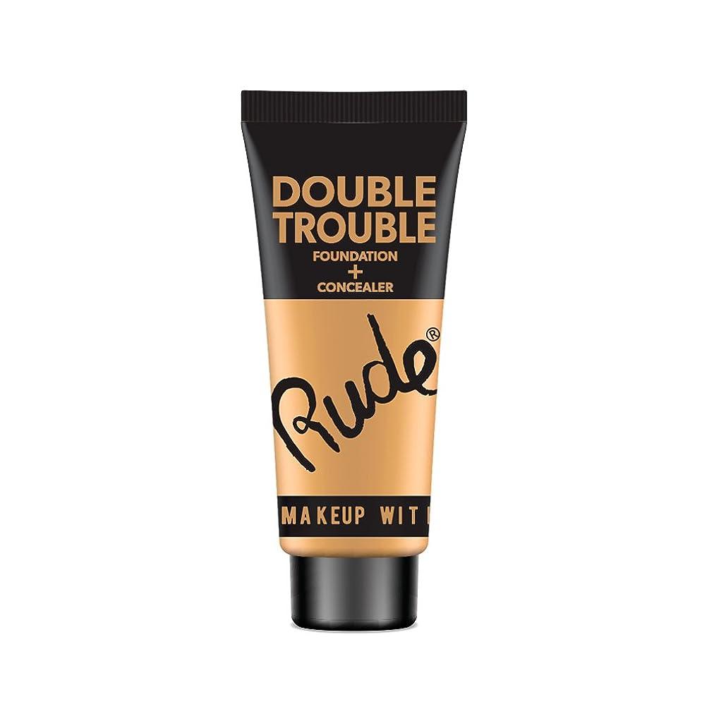 非難先史時代の黒くする(6 Pack) RUDE Double Trouble Foundation + Concealer - Natural (並行輸入品)
