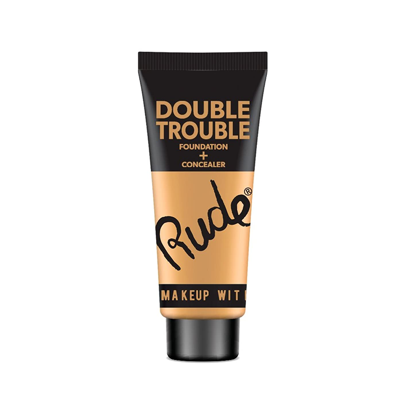 デコラティブ瞳相対サイズ(3 Pack) RUDE Double Trouble Foundation + Concealer - Natural (並行輸入品)
