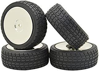 JIUWU 4PCS 12mm Hub Silver Rim Gravel Tires 1:10 Off-Road RC Car Buggy Disc Wheel Tyre with Foam Inserts
