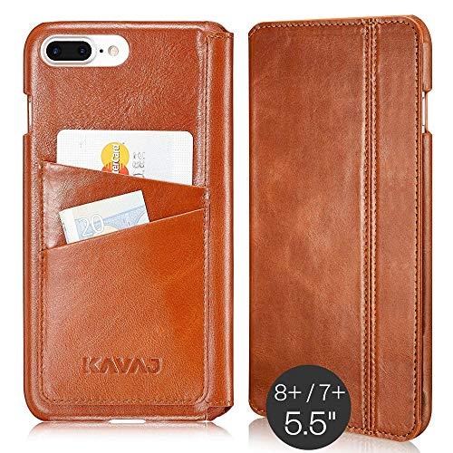 KAVAJ Lederhülle Dallas geeignet für Apple iPhone 8 Plus iPhone 7 Plus Tasche Leder Cognac-Braun Ledertasche mit Kartenfach aus Echtleder Hülle Case Lederhülle Ledercase Handyhülle Echtledertasche