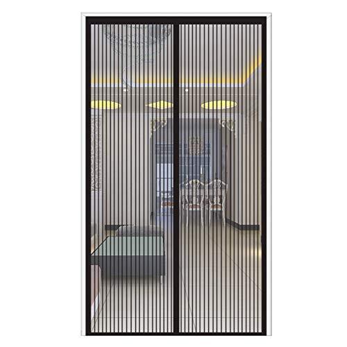 ERPENG Magnet Fliegengitter Tür 120x250cm Magnetverschluss faltbar Fliegengitter balkontür Vorhang einfach zu montieren Ohne Bohren für Balkontür Wohnzimmer Terrassentür, Schwarz