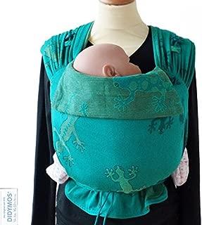 DIDYMOS Meh-Dai/Mei Tai (DidyTai) Baby Carrier Geckos Emerald (Organic Cotton), One Size
