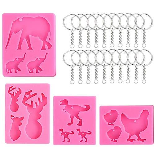Moldes de silicona para animales, 4 unidades, moldes de silicona antiadherentes para hornear tartas con agujero hecho a mano, diseño de elefante, para chocolate, tartas, pudines, helados, gelatina