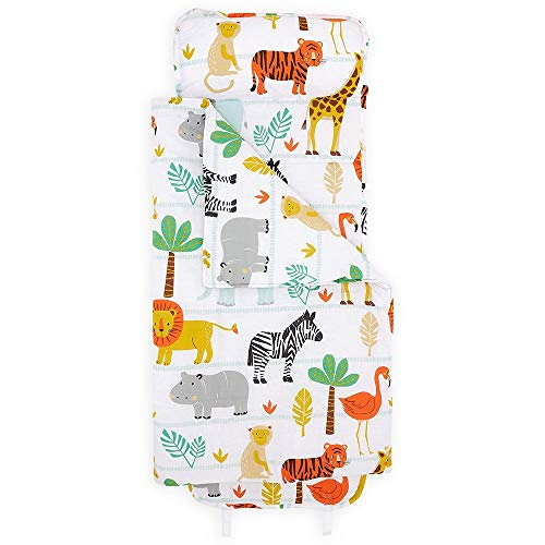 "Bloomsbury Mill - Safari Adventure - Jungle Animals - Super Soft Toddler Nap Mat - Includes Pillow, Mat and Blanket - Ideal Gift & Sleep Bag for Kindergarten and Pre-School - 20"" x 53"""