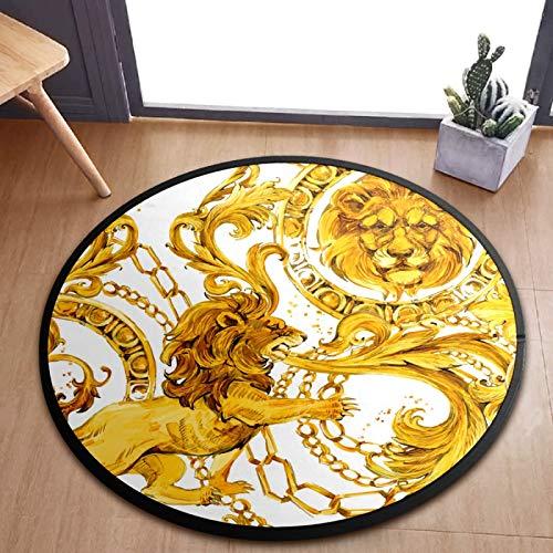 ALINLO Alfombra redonda para niños, diseño de león dorado y rey del bebé, alfombra para el cuarto de juegos, decoración del hogar, 92 cm