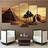 5 Paneles pirámides egipcias Sunset Landscape Modern Home Decor Posters Living Room HD Impreso Pintura Wall Art Pictures 30x50 30x70 30x80cm sin Marco