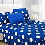 American Home Collection 6 Piece Bed Sheet Set Super Soft Brushed Microfiber - 14' Deep Pocket - Wrinkle Resistant - Hypoallergenic (King, Blue Polka Dot)