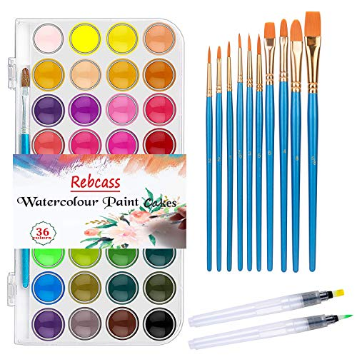 Watercolor Paint Set for Kids 36 Watercolor Cake 12 Paints Perfect Water Colors for Students Beginners(36 Color)