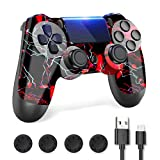 PS4 Controller, Controller PS4, PS4 Controller Wireless Compatible with Playstation4/ Pro/Slim, PS4 Remote Joystick with Charger and Thumb Grips (Red)