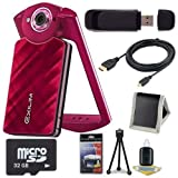 6Ave Casio EX-TR50 Self Portrait/Selfie Digital Camera (Red) + 32GB microSD Class 10 Memory Card + Micro HDMI Cable + SDHC Card USB Reader + Memory Card Wallet + Deluxe Starter Kit Bundle