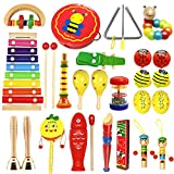 Vykor Children's Wooden Musical Toys, Percussion Instrument Suits, Give Away Musical Instrument Set