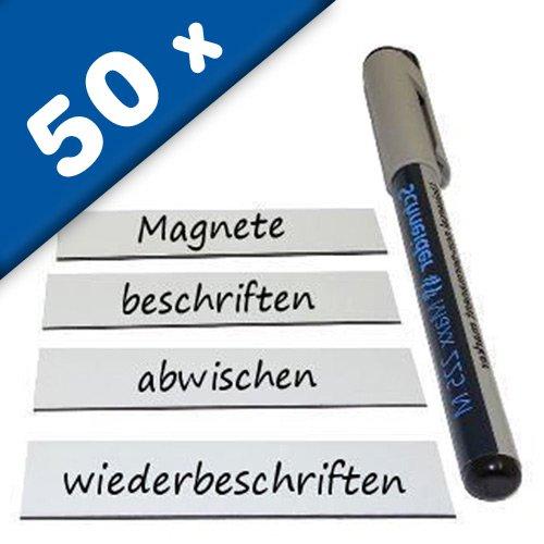 50+ Magnetschilder Magnetstreifen Magnet-Etiketten beschreibbar/abwischbar - in WEIß - als Namensschilder Lageretiketten für Lager Werkstatt Kühlschrank, Größe: 2 x 8 cm, Stückzahl: 50 Stück