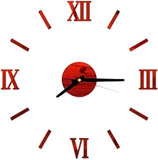 VOSAREA Reloj de Pared sin Marco Adhesivo de Bricolaje Adhesivo acrílico 3D Reloj de Pared silencioso (Rojo)