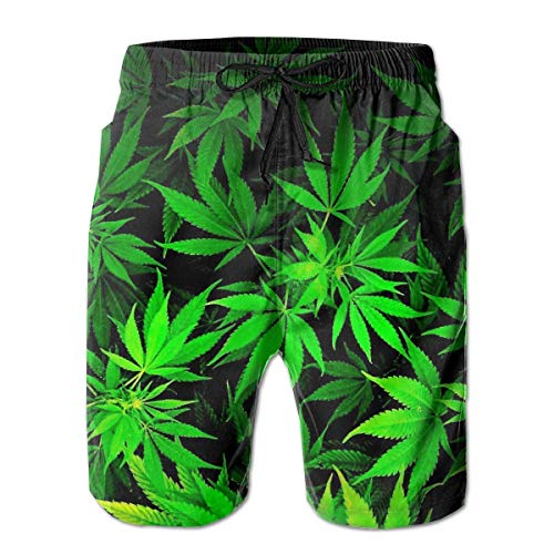 Herren Badehose Quick Dry Cool Green Amazing Weed Leaves Bedruckte Strandshorts Sommer Boardshorts, M