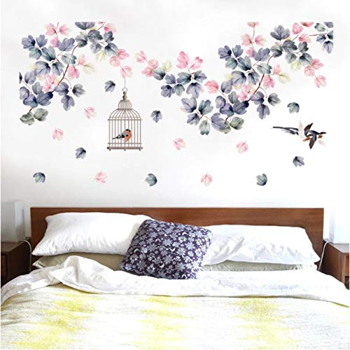Flowers Wall Stickers Bed Decoration Birdcage Home Decor PVC DIY Vinyl Wall Decals for Bedroom TV Sofa Laday Gifts