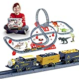 Roller Coaster Train Toy Set with Dinosaurs – Upgraded Electric Locomotive Engine Train Toy w/ Sound, Railway Kits, Cargo Cars & Dinosaurs Play Set, Suitable Gifts for Boys Girls Toddlers Aged 3 Above