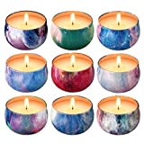 Scented Candles Gift Set,9 x 2.2 Oz Natural Soy Wax Candles Gifts for Women,9 Essential Oil Fragrances,Aromatherapy for Stress Relief,Gift Set for All Occasions,15 Hours Burn Time, 9 Pack