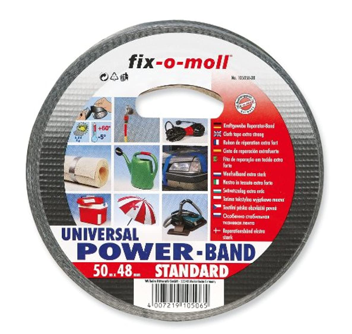 RITTERRATH Power-Band Standard 0 Reinforced Repair Tape Extra-Strong 50 m x 48 mm Black by