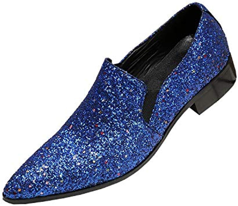 Rui Landed Oxford for Man Formelle Schuhe Slip On Style Hochwertiges Echtes Leder Luxurise Glitzernde Vamp Edle Farbe Lssig Nachtclub (Farbe   Blau, Gre   46 EU)