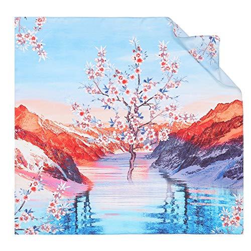 WEJNNI imitatie zijden sjaal Chinese stijl kleur bergrivier plant bloem zijde klein vierkant Moederdag dames cadeau