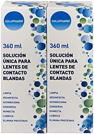 Solupharm Solución Única para Lentes de Contacto Blandas - Paquete de 2 x 360 ml - Total: 720 ml: Amazon.es: Salud y cuidado personal