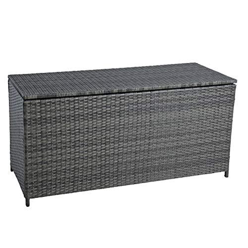ESTEXO Polyrattan Auflagenbox Kissenbox Gartenbox Gartentruhe Aufbewahrungsbox Auflagentruhe Aufbewahrungstruhe Kissentruhe (Anthrazit-Grau)