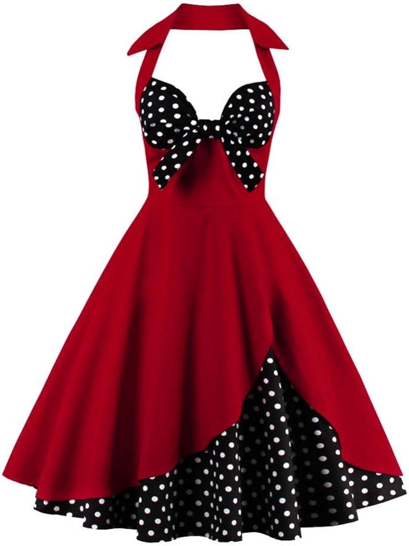 Alitayaa Women's Vintage 1950s Dresses, Sleeveless Retro Cocktail Swing Party Dress