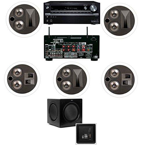 Klipsch KL-7502-THX 5.1 In-Ceiling System-Onkyo TX-NR838 7.2 Channel Network- White