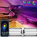 Oasser Striscia LED Auto Luci Interne per Auto Design 2 in 1 Funzionamento con un tocco Controllo vocale Porta USB APP Bluetooth impermeabile, DC 12V