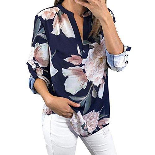 TEBAISE Mid Season Fashion Design Frauen Damen Reisen Datierung Bunte Blumendrucken Halbarm T-Shirt Unregelmäßige Tops Bluse Jumper Marine 38 DE/S CN