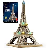 CubicFun Eiffel Tower 3D Puzzle for Adults with Shining LED Lights, Romantic Paris Architecture Model Building Kits Decor, Gift for Women, 84 Pieces