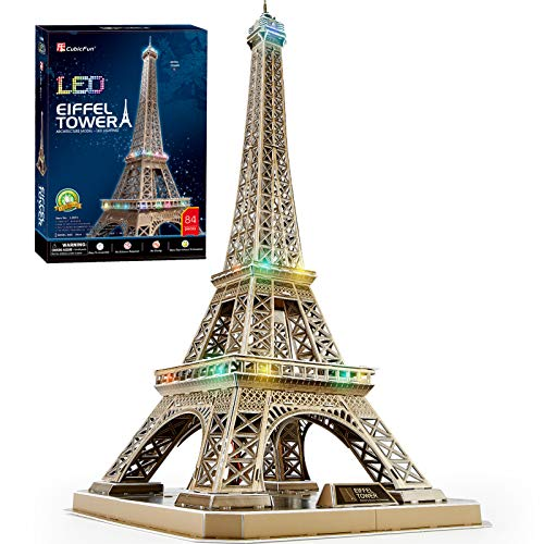 CubicFun Frence LED Architecture Model Building Kits 3D Puzzles for Adults, DIY Papercraft Lighting Paris Eiffel Tower Decoration Gift Game Toy, 82 Pieces