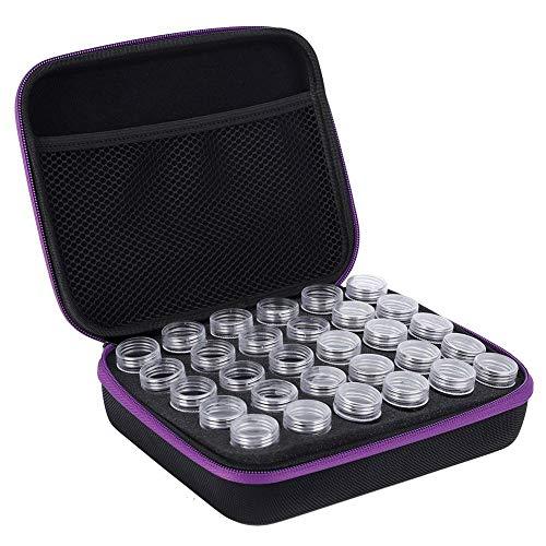 Fditt 30 ranuras Diamante Bordado Caja Diamante Accesorios Herramienta Plástico Punto Cruz Contenedor Almacenamiento Macetas Aceite Esencial Botella (Purple)