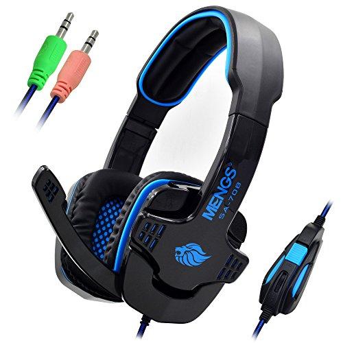 Sades, 2.2m Kabel Stereo Headset SA708 PC Gaming 3,5 mm Klinkenstecker Kopfhörer und Mikrofon mit weichen Ohrpolster verdrahtet - Blau