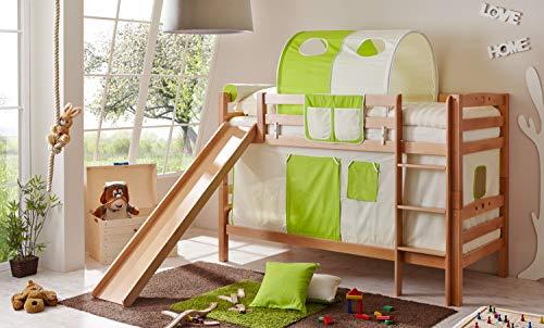 Etagenbett mit Rutsche Doppelbett Lupo Buche massiv Natur mit Farbauswahl, Vorhangstoff:Beige Grün