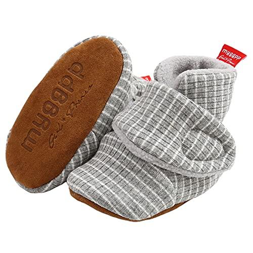 Aisprts Botas de bebé suaves antideslizantes suela zapatillas para bebés niños niñas invierno cálido acogedor primer caminar zapatos para cuna de 0 a 18 meses, Gris 1, 12-24 meses