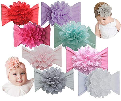 Qandsweet Baby Headbands with Flower Girl's Nylon Turban Hair Accessories (8Pcs Lace Flower)