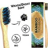 Brosse à dent en bambou végétalien bio - Lot de 4 - poils souples infusés au charbon végétal - sans BPA - biologique...