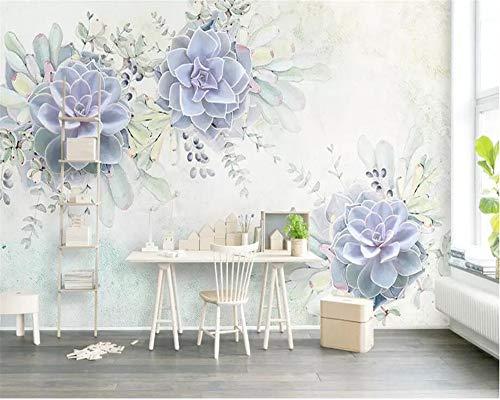 Mural Wallpaper Photo Home Custom Wallpaper Light Purple Fresh Watercolor 3D Plant Flower Living Room Bedroom Backdrop murals 3D Wallpaper tapeta