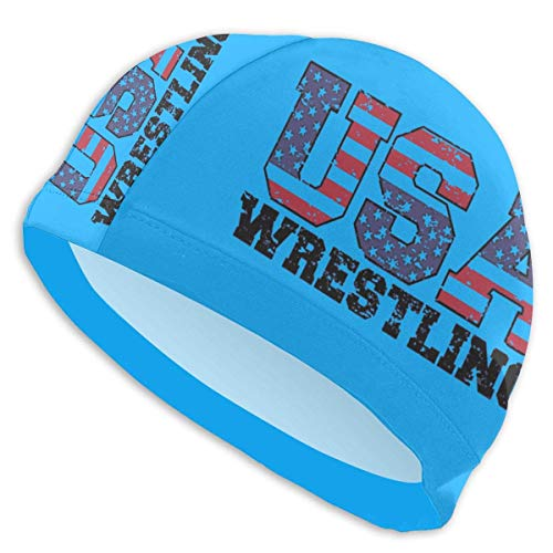 HFHY USA Wrestling Adult Summer Time Beach Bath Caps for Men Women Unisex
