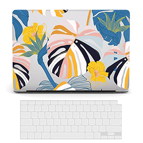 ACJYX Compatible con MacBook de 12 pulgadas con pantalla Retina (modelo A1534 versión 2017 2016 2015), cubierta protectora de plástico para portátil carcasa rígida y cubierta de teclado, hojas