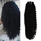 Moresoo 20 pouce Bresilien Remy Hair Extension a Clip Afro Kinky Curly Cheveux Raides Naturel Noir 1B Extension Vrai Cheveux a Clip pas Cher