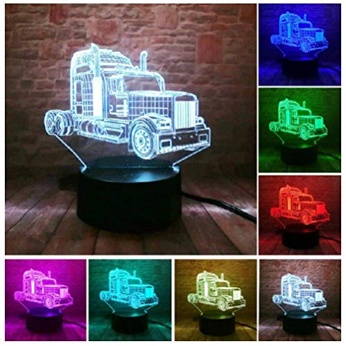 Luz de noche 3D-Coche deportivo genial-Luz de Noche para Niños Lámpara de Escritorio Táctil con Cable USB decoración del hogar regalos 7 colores cambiantes-Touch+Remote