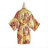 XFLOWR Señoras Verano Peonía de Seda Simulación Túnica Satén Señora Corta Popelina Boda Kimono Vestido de Novia Vestido de Maquillaje Ropa de Dormir Vestido de una Talla Amarillo