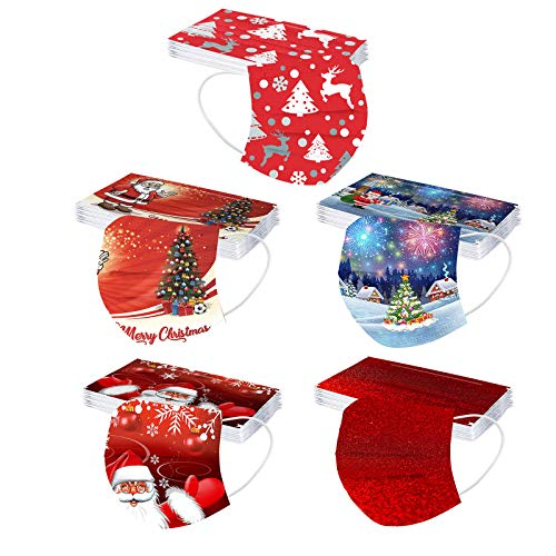 Renzhe 50pcs Christmas Disposable Face_Masks for Adults 3Ply Face Bandanas,Cute Print Breathable Mouth Covering Protective Snowman Xmas Festival Party Earloop Protection Balaclava for Women Men