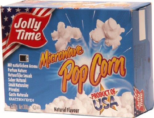 Jolly Time Mikrowellen Popcorn Natural | Mikrowellen Popcorn mit Salz | USA Klassiker Popcorn für die Mikrowelle | Mikrowellenpopcorn gesalzen, 3er Pack (3 x 300 g)