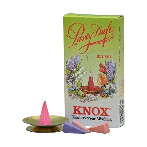 Knox, Räucherkerzen, Party Duft, Blumig, 24 Stk mit Glimmschale