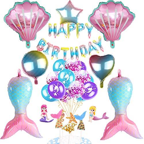 Sirena Decoración de Cumpleaños,Sirena Cumpleaños Party Decoración,Kit Globos Sirena,Decoración de Fiesta de Sirena,Globo Sirena para Niña,Sirena Papel de Aluminio Globo,para Fiesta de Cumpleaños