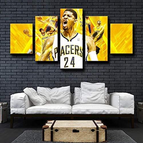 13Tdfc Quadro Multipannello di 5 Pannelli, Quadro su Tela 5 Pezzi, Stampa Artistica, Moderno Canvas 150X80Cm,Squadra di Basket NBA Playoff P Paul George Gold Pronto Appendere