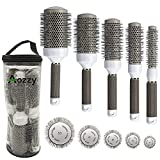 Round Brush Set for Blow Drying Curling, Professional Ceramic Ion Thermal Barrel Brush Leaves Hair...